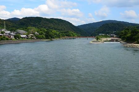 夏空の宇治川