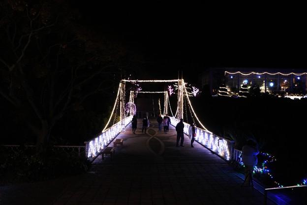 闇夜に浮かぶ光の吊り橋