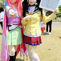写真: 古城に舞う桜の剣士 桜花 と 小峰シロ