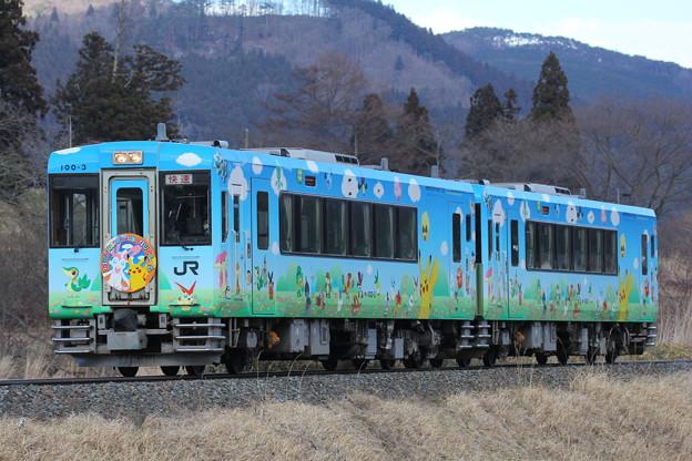 Photos: キハ100形キハ100-3 快速ポケモントレイン気仙沼号一ノ関行き