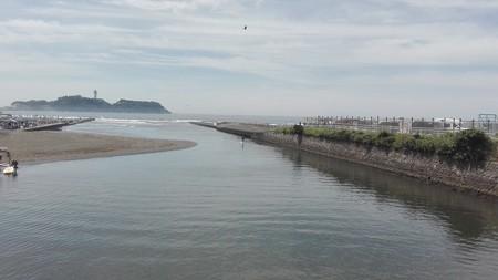 江の島をバックに、鳶と立漕ぎサーファー登場