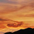 夕焼けと経ヶ岳稜線