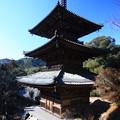 朝日の三重塔