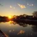 写真: 夕陽と雲