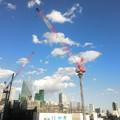 写真: クレーンと雲とタワー