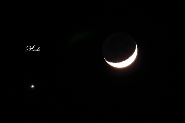 1/2の月と金星大接近