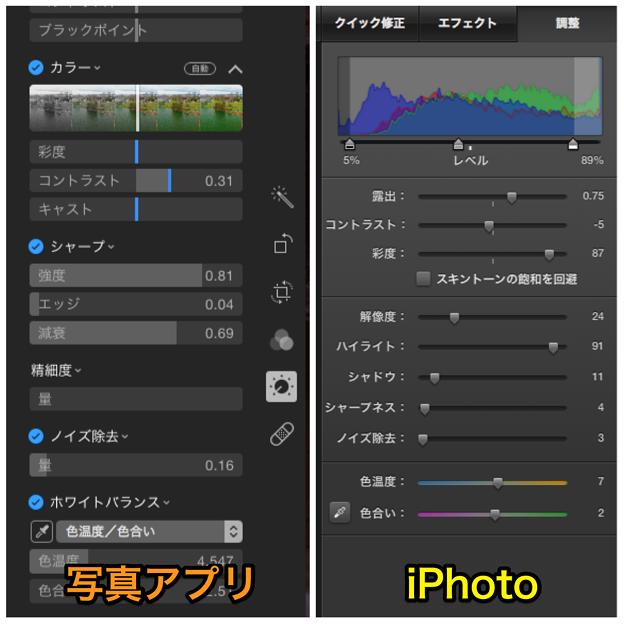 写真アプリとiPhotoの編集時の「調整」スライダー比較 - 2