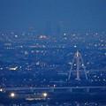 岐阜公園:展望レストランの展望台から見た夜景 - 5(ツインアーチ138と名駅ビル群)