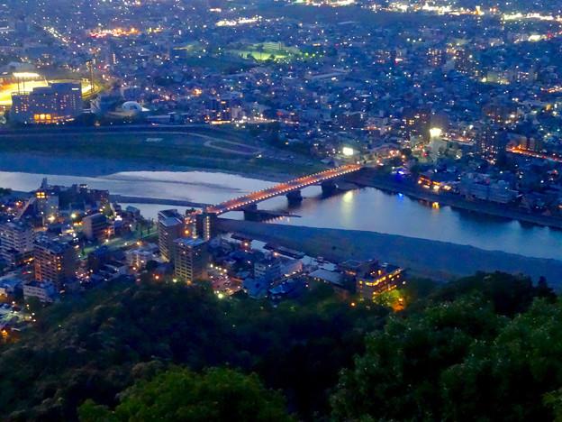 岐阜公園:展望レストランの展望台から見た夜景 - 14