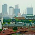 写真: 名古屋高速から見た景色:市政資料館・愛知県庁・名駅ビル群(ミニチュアライズ、フィルター有り)- 2