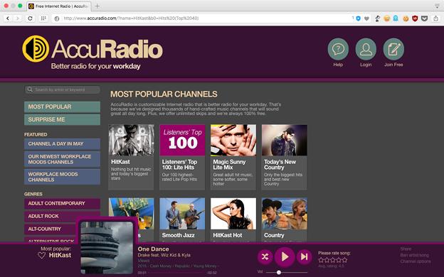 写真: WEB版AccuRadio - 2(再生中)
