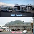写真: JR春日井駅の旧駅舎と新駅舎