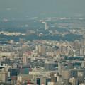 ミッドランドスクエア「スカイプロムナード」から見た景色(夕方) - 43:スカイワードあさひ と金城学院大学のアニー・ランドルフ記念講堂