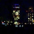 写真: 大池緑地公園から見た、夜の名駅ビル群 - 2:ミッドランドスクエアの壁面イルミネーションと名古屋城