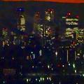 アピタ高蔵寺店屋上から見た景色(夕暮れ時) - 20:王子製紙の煙突越しに見えた名駅ビル群
