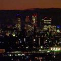 アピタ高蔵寺店屋上から見た景色(夕暮れ時) - 22:王子製紙の煙突越しに見えた名駅ビル群