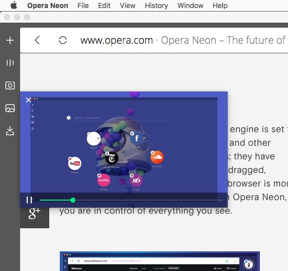 Operaの新しいコンセプトブラウザ「Opera Neon」がリリース! - 14:ビデオポップアウトも可能!