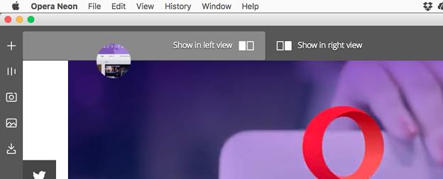 Operaの新しいコンセプトブラウザ「Opera Neon」がリリース! - 19:2つのページを並べて表示する「Split View」機能