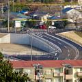 写真: 犬山城から見下ろした、名証総合グラウンド横の整備中の道路 - 2