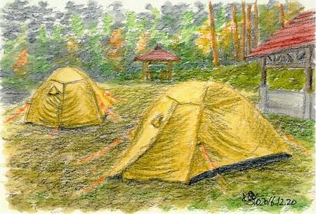 20161220恐羅漢のテン場(雨)