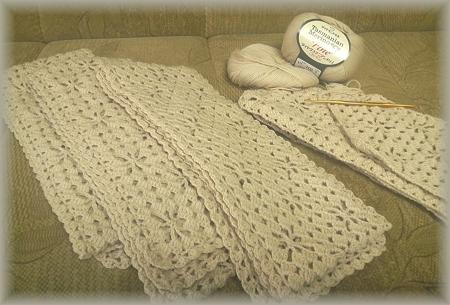 タスマニアンメリノのマフラー 何枚編むの?