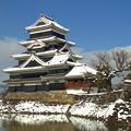 写真: 初雪(松本城)