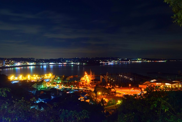 湘南港と鎌倉海岸線の夜景 #湘南 #藤沢 #江ノ島 #nightview #夜景