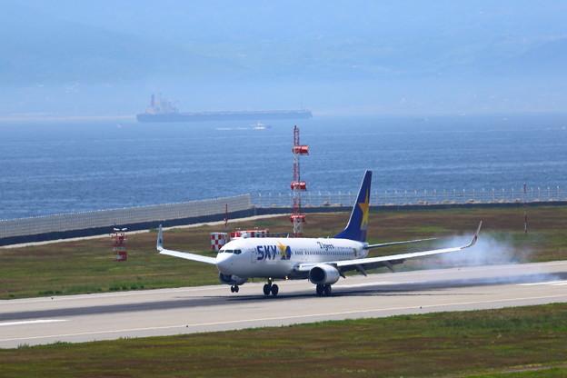 スカイマークでタイガースを応援しよう 関西の窓口神戸空港に到着