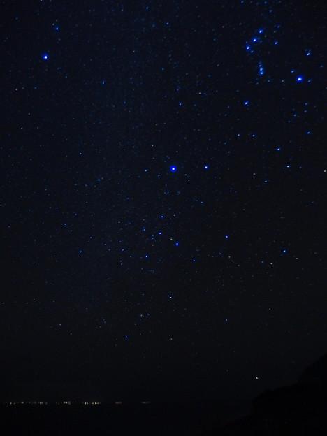 三宅島の夜景とカノープス