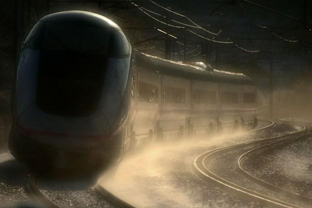 写真: 秋田新幹線20周年記念号を見送る