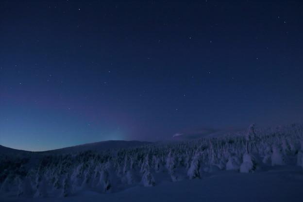 薄明の樹氷原に北斗昇る