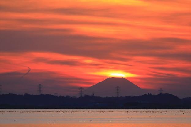 霞ヶ浦夕景ダイヤモンド富士