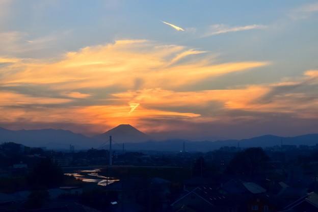 富士が見える車窓