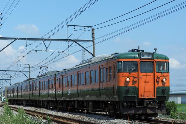 台風一過の青空の下を走る115系@新前橋~井野3