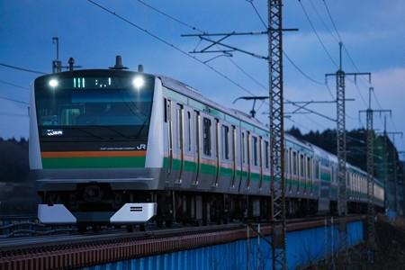 E233@蒲須坂鉄橋