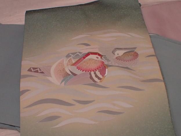 塩瀬の帯 水鳥(オシドリ)柄の塩瀬 P1031845