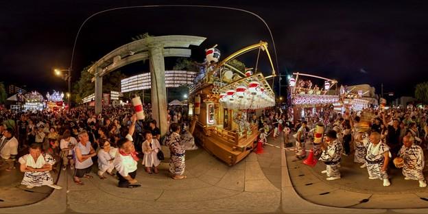 2016年8月16日 三島夏祭り 360度パノラマ写真 大社前 山車競り合い HDR
