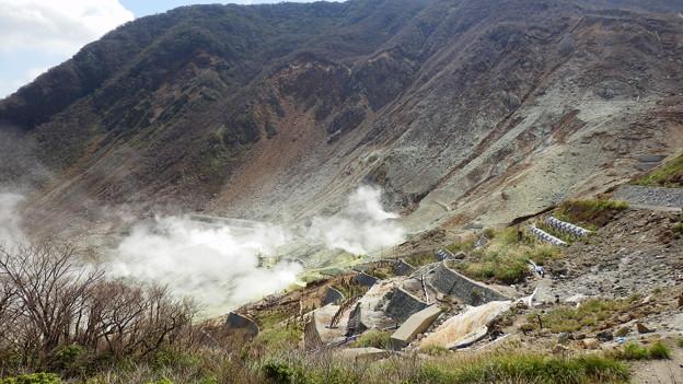 小噴火で壊滅的な打撃を受けた温泉供給施設