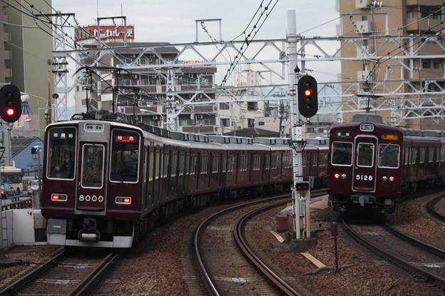 阪急神戸線と宝塚線の並走