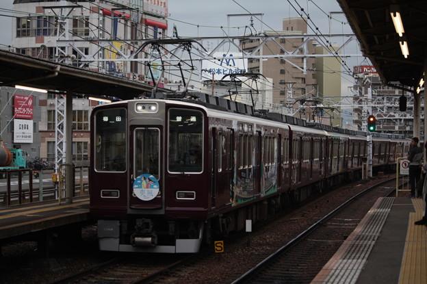阪急神戸線 8000系8002F 爽風ヘッドマーク