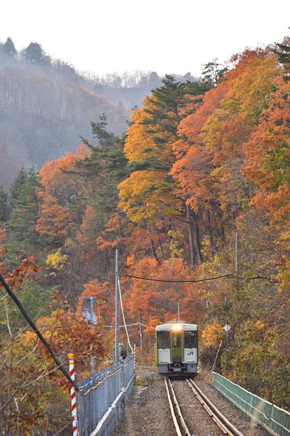 紅葉の山 北上線