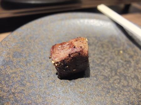 焼肉モランボン 市役所前店 ミックス盛り(内臓5種盛り) 豚の心臓(ハツ) 焼き上がり後