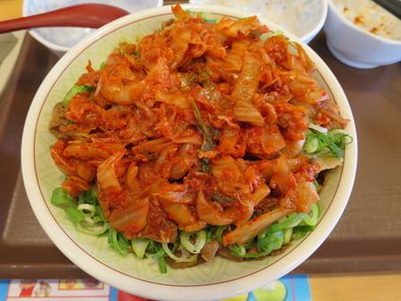 すき家 上越高土店 牛丼中盛 キムチダブル&青ねぎトッピング¥730