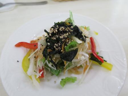 レストラン リトルバード 甘エビのトマトクリームスパゲティ サラダ