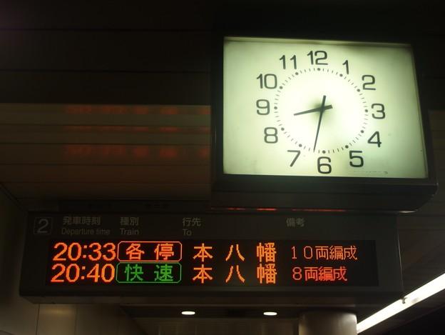 京王新線幡ヶ谷駅2番線 本八幡行き発車標
