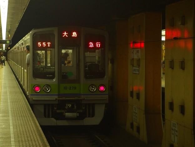 都営新宿線神保町駅2番線 都営10-270F急行大島行き前方確認