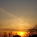 造成中の公園の夕陽