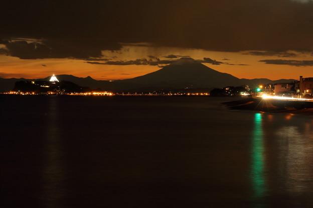 稲村ケ崎夕景 江の島と富士山