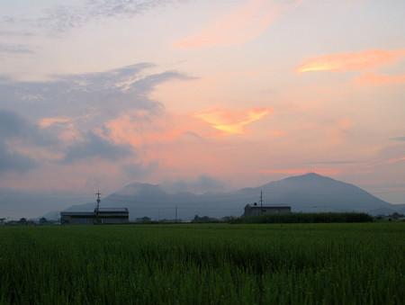 真夏の田園の夜明け