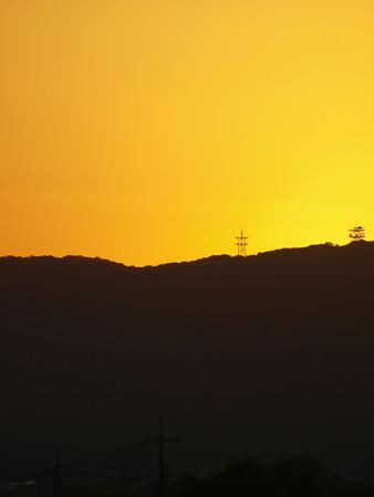 高梁川秋の夕景